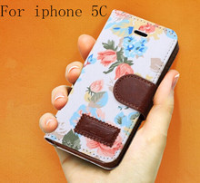 Flower Floral Design Flip Leather Case for Iphone 5c Countryside Cloth+PU Leather Cover Hot Sell New Arrival On Market