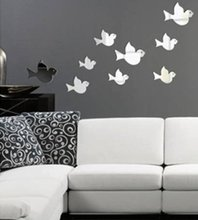 Flying Birds Modern 2014 Crystal Reflective DIY Mirror Effect 3D Wall Stickers Home Wall Bedroom Living Room Decorative