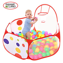 New Foldable Children Ocean Ball Pit Pool Game Play Tent with Hoop Playhouse Indoor Outdoor Kids House Play Hut Pool Play Tent(China)