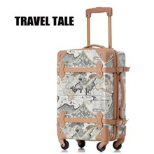 "TRAVEL TALE 18""22inch New Retro ABS luggage suitcase Rolling   luggage With spinner wheels"