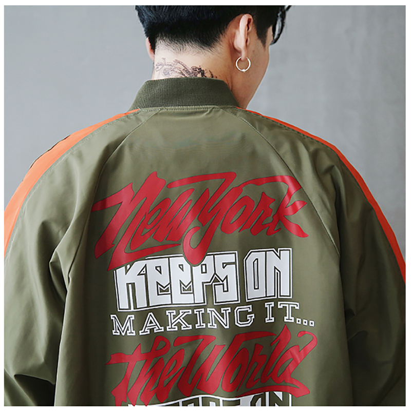 Bomber Jacket Men Pilot Printed Streetwear  (17)