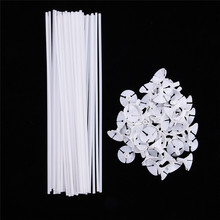 50sets/lot 32cm latex Balloon Stick white PVC rods for Supplies Balloons Holder Sticks with cup party decoration accessories(China)