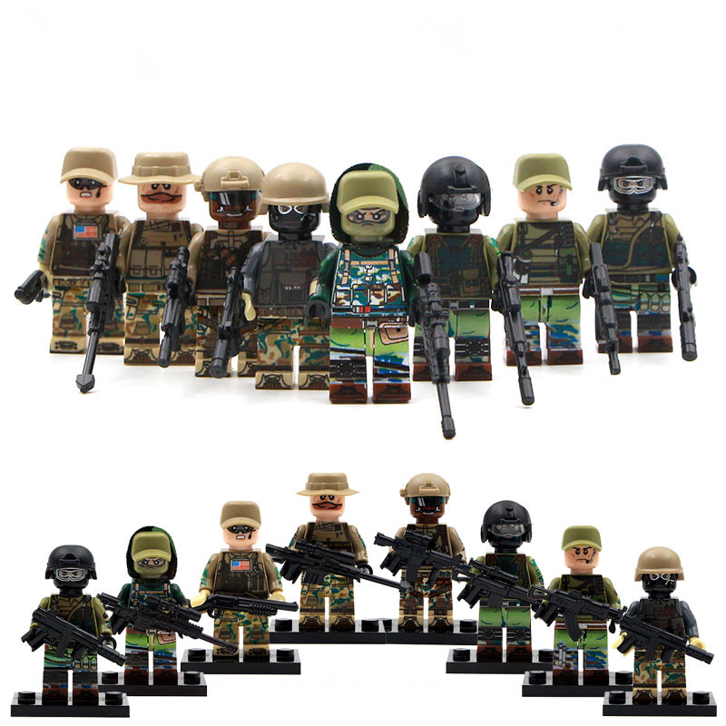 8PCS City Police Swat Team Modern War Counter Strike Army Soldiers Weapon Building Blocks Toys Legoes Military Minifigures WW2<br><br>Aliexpress