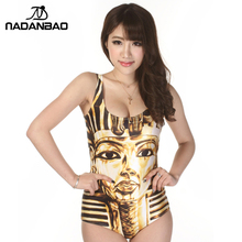 2017 New Brand Sexy Yellow Bathing Suit King Tut Digital Printed Women Sleeveless Cute Beach Wear One Piece Swimsuit CYQ1015