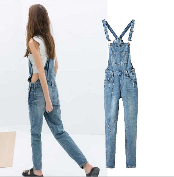 2017 overalls womens jeans , women clothing ,European style two kinds of worn denim trousers with detachable waist overallsОдежда и ак�е��уары<br><br><br>Aliexpress