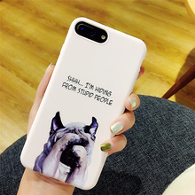 Lovely Pink Candy Cute Dog Phone Cases For Iphone 6 case For iPhone 6S 6 7 8 Plus Spoof Shy dog Letter phone Back Cover Fundan(China)