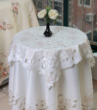 White Pastoral floral embroidered round tablecloth for restaurant Cafe Home Decoration 1pcs price 5 sizes Free Ship