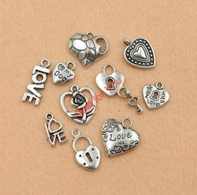Mixed Tibetan Silver Tone Love Heart Made with Love Lock Charm Fashion Pendants Jewelry Diy Accessories Jewelry Making C011(China)