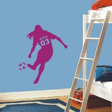 Personalized Girls Name with Number Soccer Ball Vinyl Wall Decals Art Wall Stickers for Kids Rooms Decor(China)