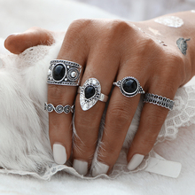 Turkish Ring Vintage Ring Sets 5 PCS Antique Alloy Nature Black Stone Midi Finger Ring Set for Women Steampunk Anillos Drop Ship
