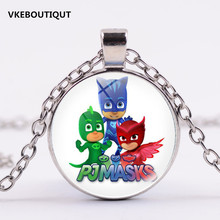 3 Color PJ Masks Necklace with 2.5CM Glass Pendant for Girls Best Gift Kids Action Figures Toys 2017 New(China)