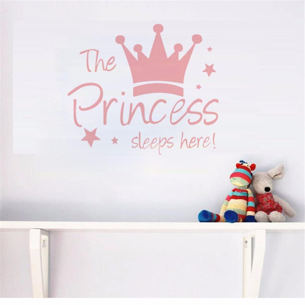 HTB1zAj2dlDH8KJjy1zeq6xjepXaz - Yanqiao The Princess Sleeps Here Crown Pink Wall Sticker
