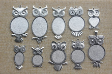 10Pcs Antique Silver Owl Oval / Round / Heart Cameo Cabochon Setting Bezel Pendant Tray Blanks