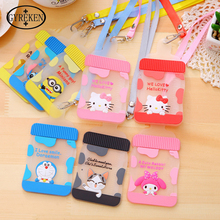2016 Korean lovely Cartoon pattern silica gel women Lanyard Bottle modeling Bank card sleeve Bus card set PY085