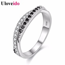 50% off Women Wedding Rings for Women Silver Color Black White Crystal Ring Lovers' Gift Jewelry Anel Feminine Wholesale Y022(China)