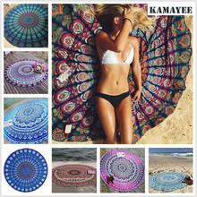 Round Mandala Indian Tapestry Colored Printed Towel Wall Hanging Beach Camping Yoga Mat Blanket Home Decor Boho Wall Carpet