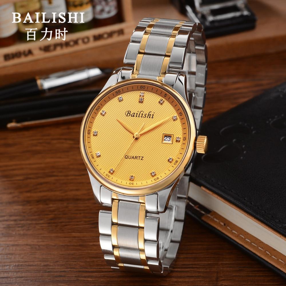 BAILISHI Top brand luxury godl men watch stainless steel waterproof quartz mens wristwatch causal clock relogio masculino<br>