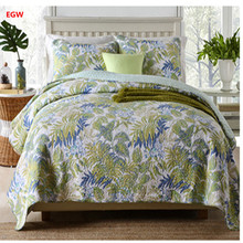 Home textile 3pcs green leaf bedspread set American style bedding cover set blue cotton 230*250cm quilt red grid patchwork gray