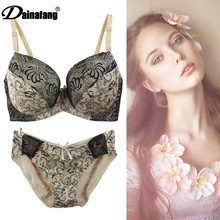 Lace Bralette Briefs Soft Triangle Bra Panty Sets Sexy Intimates Crop Top Very Sexy Underwear 34DD 34E 36DD 38D 38DD 38E 40D 40E(China)