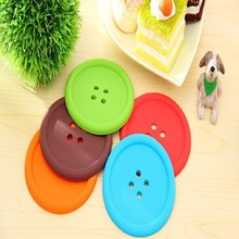 New Multiple colors Silicone Cup mat Cute Colorful Button Cup Coaster Cup Cushion Holder Drink Cup Placemat Mat Pads Coffee Pad