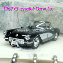 Brand New KT 1/34 Scale USA 1957 Chevrolet Corvette Vintage Diecast Metal Pull Back Car Model Toy For Gift/Collection