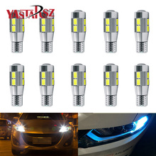 2017 Car led 10pcs Super Quality T10 LED 10 SMD 5730 Error 194 168 W5W Universal T10 LED Canbus Car led light parking shipping(China)