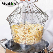 Stainless Steel Expandable Fry Chef Basket Kitchen Colander steamer Mesh Basket Strainer Net Cooking Steam Rinse Strain Basket(China)