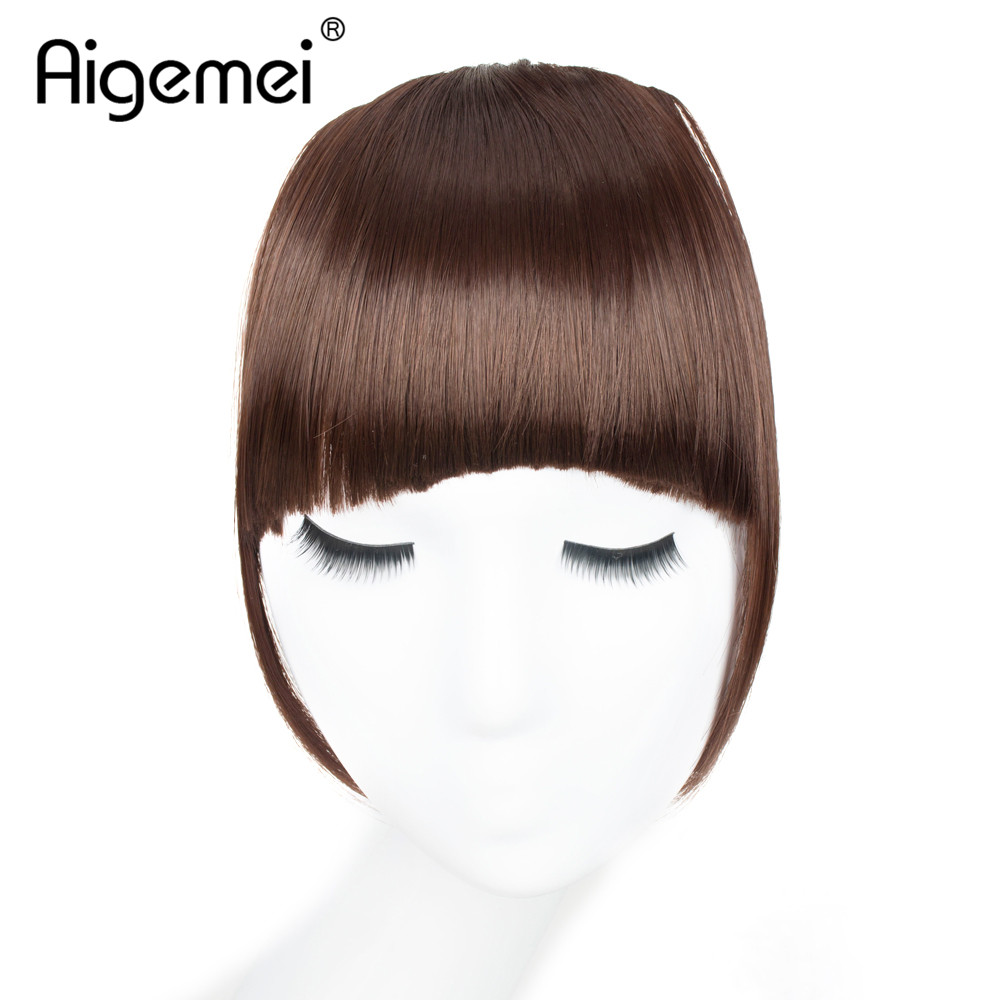 Aigemei Fake Fringe Bangs Clip Ons 6 Inch Short Straight Front Neat Wedding Synthetic Hair Pieces Bangs Women