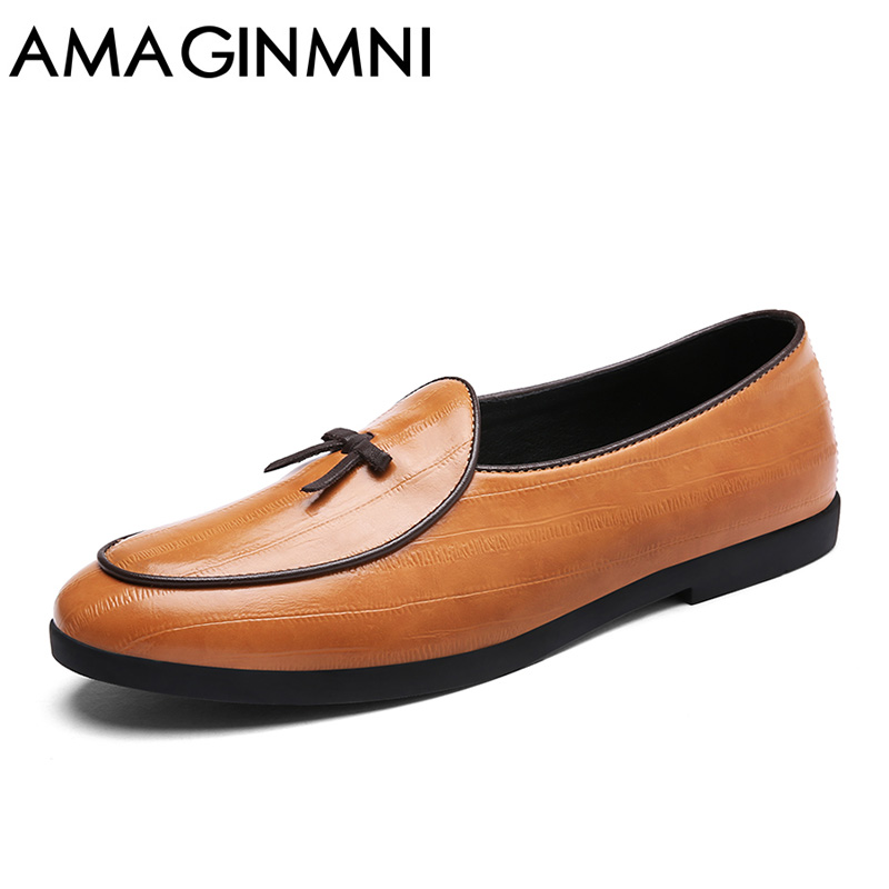AMAGINMNI Spring Autumn Men Formal Wedding Shoes Luxury Men Business Dress Shoes Men Loafers Pointy Shoes Classic leather shoes