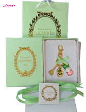 KC15 New Key chain France  Macarons Effiel Tower Keychains New Year Gifts w Box Ribbon Handbag Green free shipping