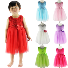 New 2017 flower girl party dress baby birthday tutu dresses for girls lace baby vest baptism dresses rosette kids wedding dress