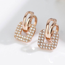 Fashion Silver Gold color Full Crystal Rhinestone Square Stud Earrings For Women Temperament Statement Jewelry Piercing Earring(China)