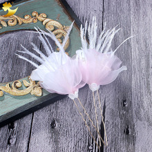 XinYun Small Feather pearl Photography prop Hair Clips Clip para el pelo Wedding hair accessories Headdress Manufacturer 78003