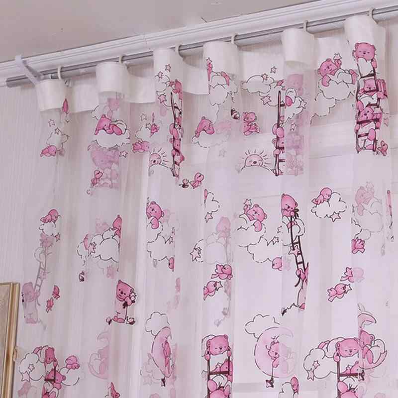 Summer Children Cartoon Bear Pattern Curtain For Living Room Yarn Printed Organdy Net Curtain Modern Window Curtain for Home