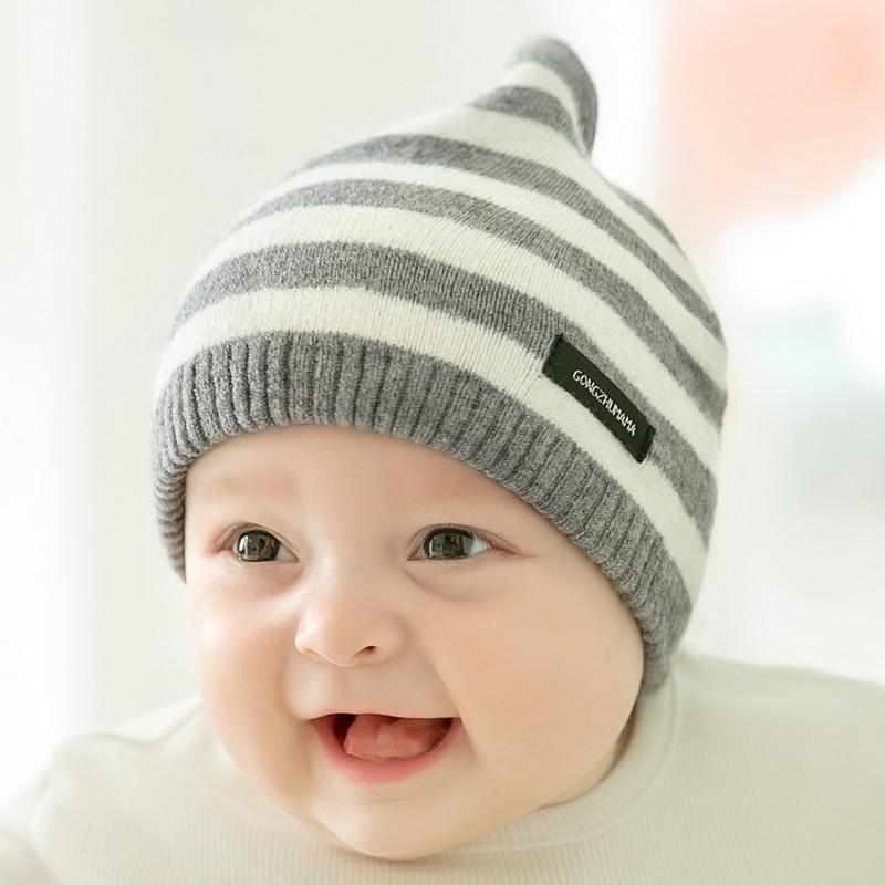 CieiK Newborn Photography Props Soft Baby Hat Warm Children Winter Cap Boys Girls beanie Infant Striped Muts Baby Accessories (11)