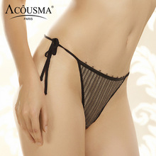 Buy ACOUSMA New G-String Panties Sexy Hot Women T Back Thongs Panty Stripe Lace Underwear Seamless Low Waist Ladies Tempation