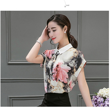 2016 new arrival women short sleeve chiffon loose blouses Printing Ink women shirt  turn-down collar retro style blouses 805A 36