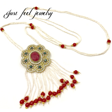 Luxury Italy Antique Gold Crystal&Beads Necklace Handmade Unique Pendant Flower Beads Necklace Sweater Chain For Women