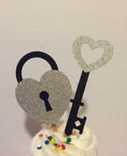 Key to My Heart Lock Cupcake Toppers wedding bridal baby shower Bachelorette Party Decor girl birthday treat food picks
