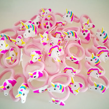 12pc/Set Elastic Hair Rubber Band children Hair Unicorn Headband Kids Hair Accessories Gril Hair Band Set Cute unicorn cartoon(China)