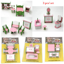 3pcs/ set Mini Dollhouse furniture toy miniature accessory doll Pretend living room pink bed stool table toy gift for girl kids