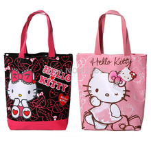 2017 Cute Hello Kitty Canvas Shoulder Bag Women Handbag Tote Eco Reusable Shopping Bag Zipper Cartoon School Book Bags Girls