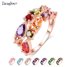 Beagloer Fashion Top Sale Colorful Rose Gold Color AAA Zircon Wedding bijoux Rings  Jewelry For Women CRI0242-A