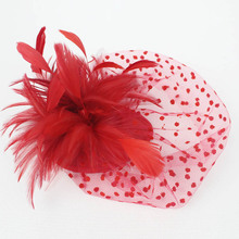 Red Black Dotted Mesh Fascinator Feather Hair Cllip Vintage French Veiling Ladies Headpiece Party Wedding Bride Hair Accessories