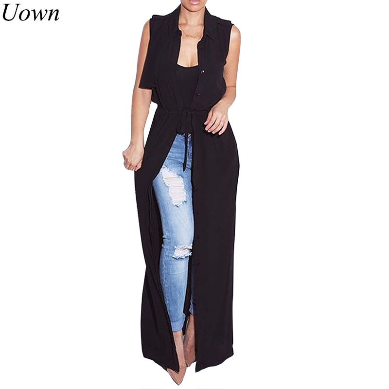 Chiffon Women Cardigan Blouses Shirt 2017 Casual Summer Turn-Down Collar Sleeveless Maxi Long Blouse Silk Shirt Cover Sashes