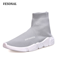 VESONAL High Top Men Casual Shoes Slip On Male Fashion Footwear Walking Gumshoes Unisex Couples Sock Shoes Mens Breathable 118(China)