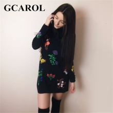 GCAROL New Autumn Winter Floral Printed Dress Stand Collar Full Sleeve Fashion Vintage Female Dress(China)