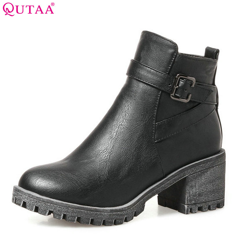 QUTAA 2018 Women New Fashion Ankle Boots Zipper Deisgn Pu Leather Women Shoes All Match Square High Heel Ladies Boots Size 34-43<br>
