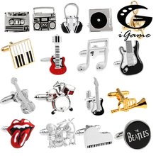 Free Shipping 18 Designs Guitar Cufflinks Music Design Musical Note Cuff Links Piano Bass Cuffs