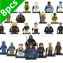 Latest 8pcs Star Wars figure Set Stormtrooper Kylo Ren Darth Vader Padme Luke Mace Windu Yoda R2d2 starwars Building Blocks Toys(China)